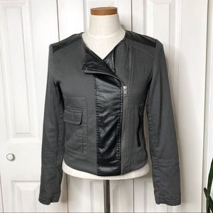 Jackets & Blazers - Moto jacket, Gray and black faux leather accents